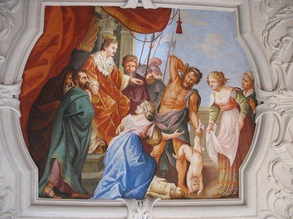 Um fresco do Julgamento de Salomão, Wallfahrtskirche Frauenberg (de) Frauenberg, Styria