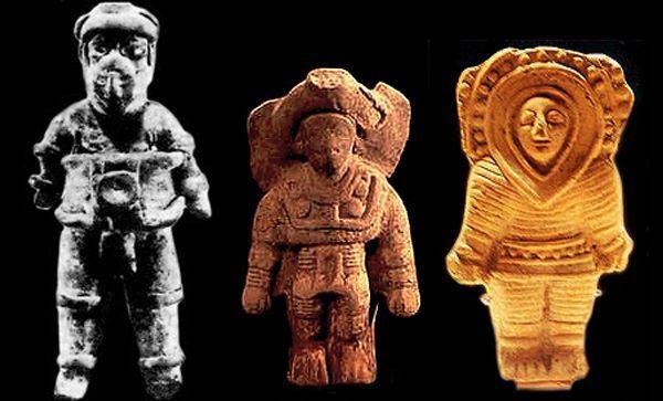 Estátuas de deuses astronautas brancos da Mesoamérica