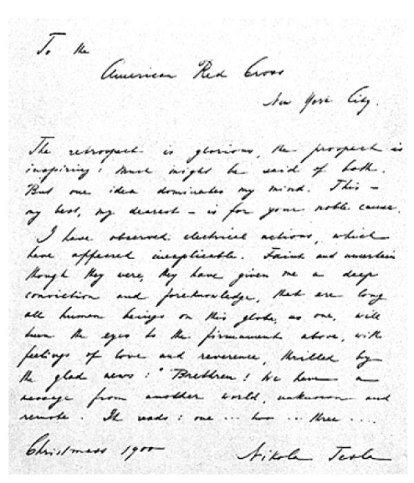 Uma carta escrita por Tesla