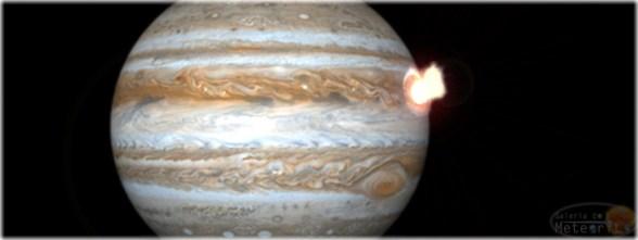 Rederização artística de Júpiter sendo atingido por um corpo celeste. Crédito: Galeria do Meteorito