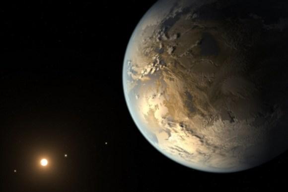 Ilustração de outro exoplaneta que pode suportar a vida, Kepler 186-f. (Crédito: NASA)