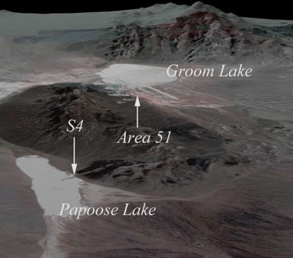 Localização da área S4 em relação à Área 51.