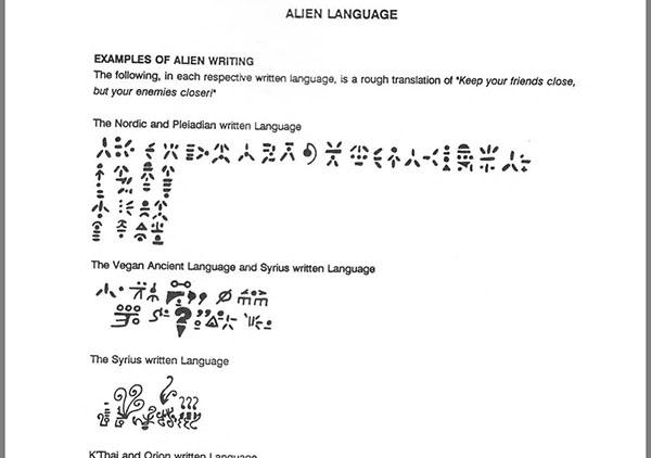 linguagem escrita alienígena