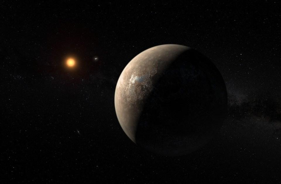 Renderização artística de Proxima Centauri e seu exoplaneta Proxima Centauri b