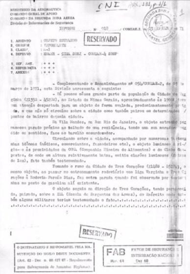 Documento oficial aponta relatos 25 anos antes do Caso ET de Varginha 1