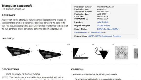 Patente de nave antigravitacional