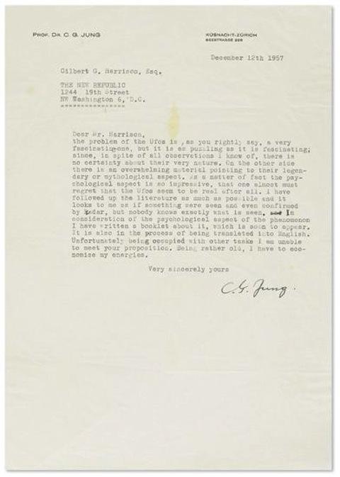Carl Jung mostra sua fascinação por OVNIs