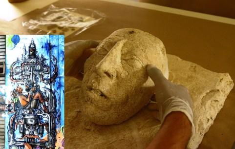 """desenterram a máscara do Rei Pakal - o """"Astronauta de Palenque"""""""