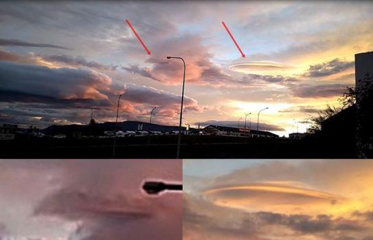 OVNI camuflado é filmado saindo das nuvens
