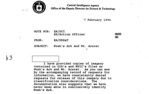 CIA usou satélites espiões para estudar localização da Arca de Noé 1