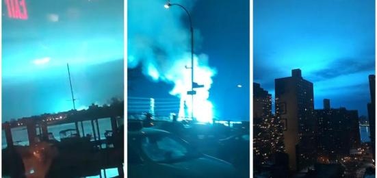 Luz azul inunda o céu de Nova Iorque