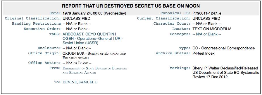 Documento Wikileaks expõe base lunar secreta dos EUA que foi destruída 1