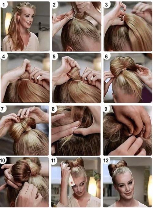 Как делать бант из волос 2 способ (фото)