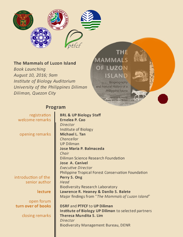 The Mammals Of Luzon Island Book Launch