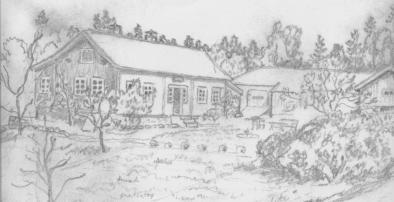 Tegning av ?? Strømme (far til Daghild Greiebesland) av en av gårdene på Mushom. Hovedhuset brant ned og uthuset ble revet. Begge deler er bygd opp og Kristen Steinsland brukte uthuset til hønsehus. Det er Solveig Steinsland som nå bor i det nye setehuset.