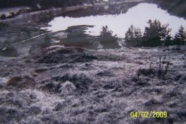 Gravhaug i samling gravhauger på Skarpengland, sett fra VSV. Skarpenglandsvannet i bakgrunnen.