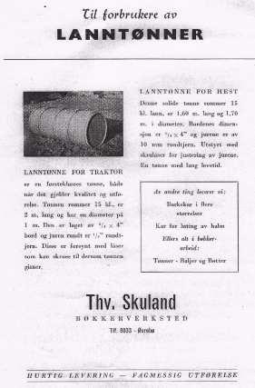 Reklame for bøkkerverkstedet til Thorvald Skuland