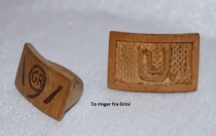 Ringer laget av fanger på Grini under 2. verdenskrig og som Lars Upsahl hadde med seg hjem etter endt fangeopphold.