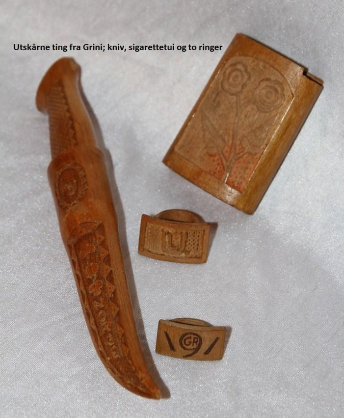 Samlebilde av gjenstander som krigsfanger på Grini hadde laget under fangenskapet under 2. verdenskrig