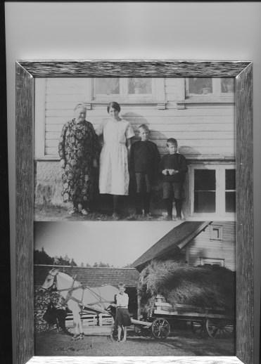 Øverst bestemor, mor og brødre. Nederst: Helge kjører inn høyet på gamlemåten.