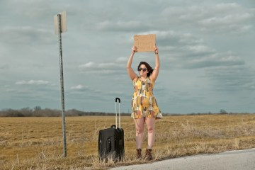 Conceptual portraits of comedian Tanya Nascimento hitchhiking to Austin.