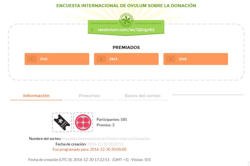 Resultados sorteo encuesta donación de óvulos 2016