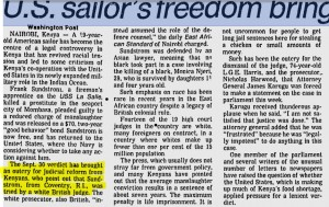 The Montreal Gazette. October 21, 1980. The piece was originally published in The Washington Post. The highlighted section shows the part that referred to Sundstorm's hometown.