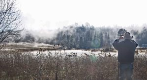 Morning fog at the boat landing at Baum Lake