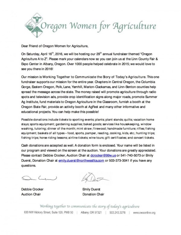 2016 OWA Auction Letter