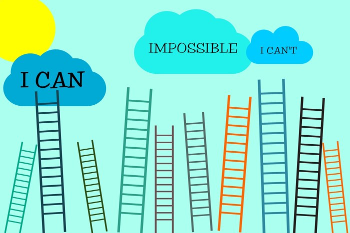 I can do it motivational concept with stairs directed to sky