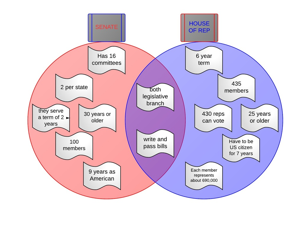 hight resolution of the diagram shows facts about the senate and the house of representatives being alike and different