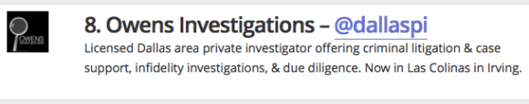 top investigator on twitter - dallas private investigator - owens investigations
