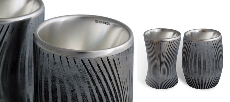 Pewter and silver beakers designed and made by Owen Waterhouse