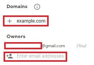 Add domain and email address