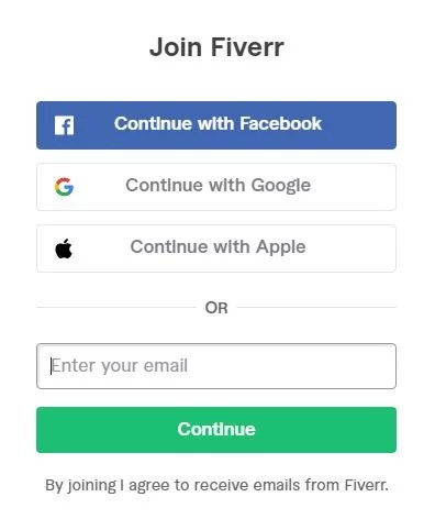 Fiverr Signup page