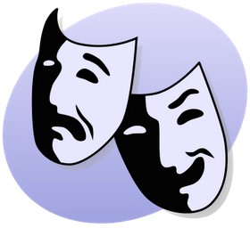 two drama masks; one happy, one sad