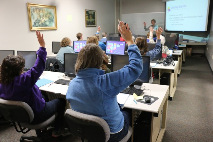 classroom with students on computers