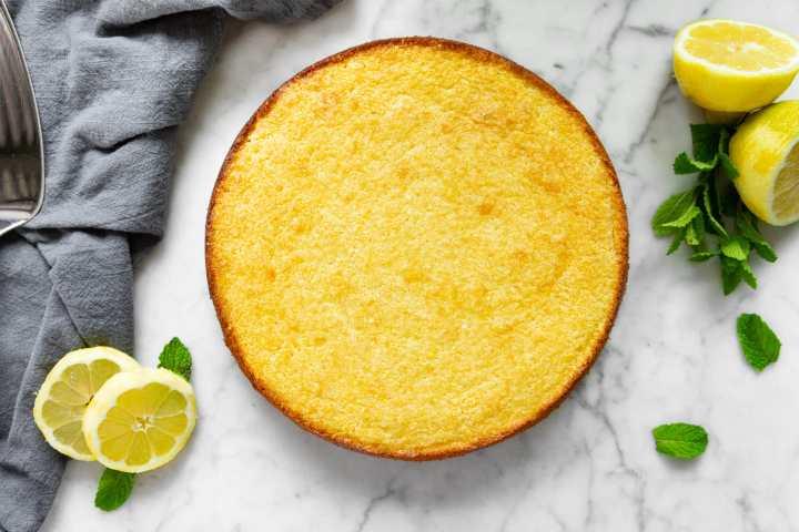 Lemon ricotta cake unsliced without powdered sugar