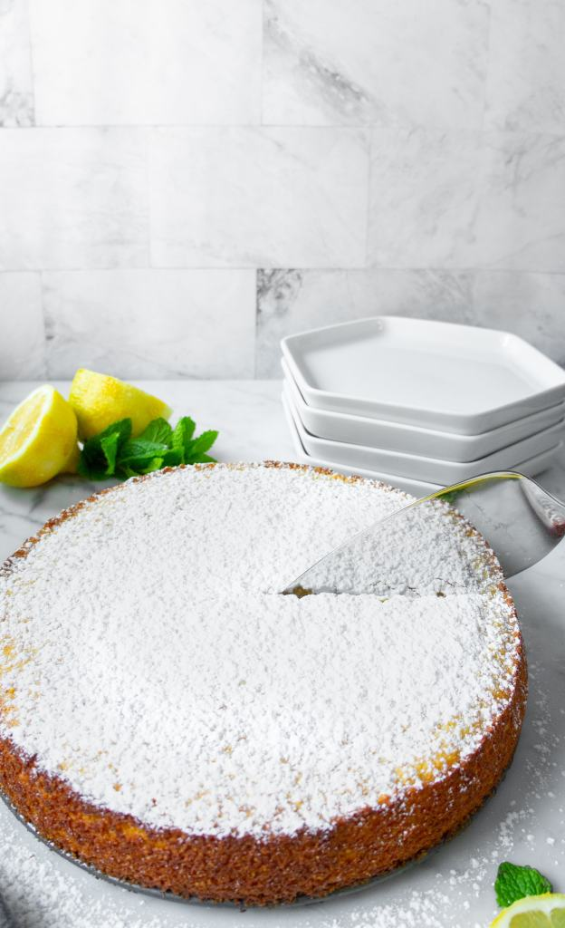 Lemon Ricotta cake being sliced