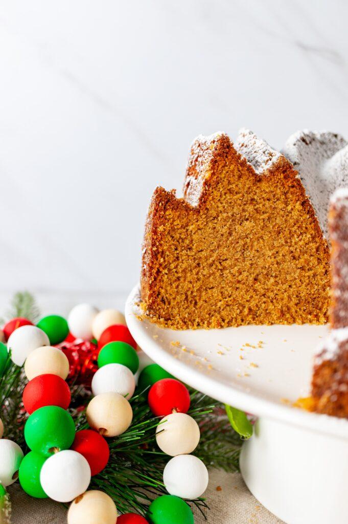 Gingerbread Bundt Cake - inside shot with beads 2