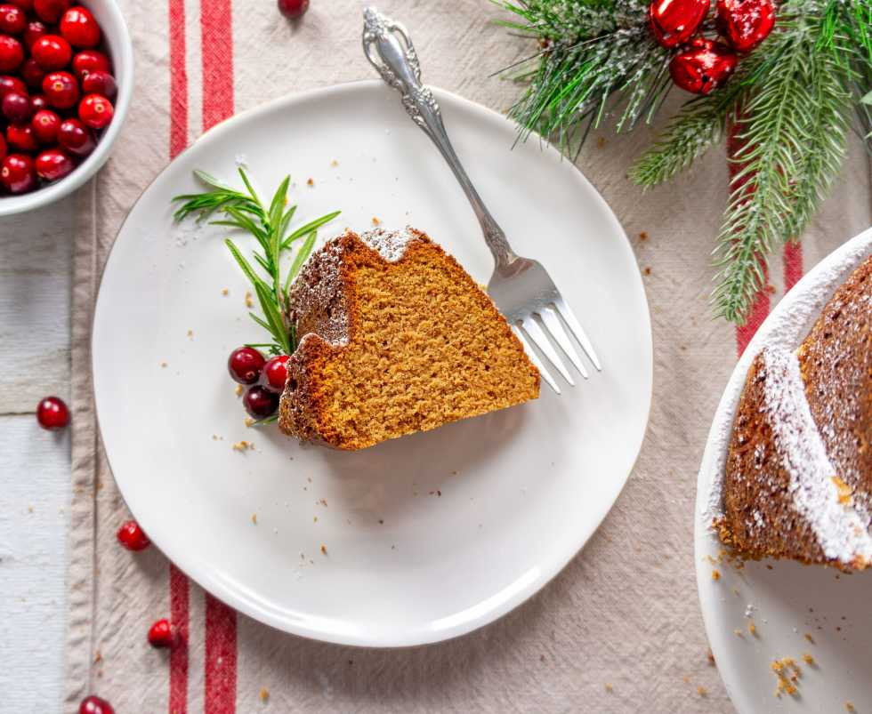 Gingerbread Bundt Cake - slice on a plate flatlay