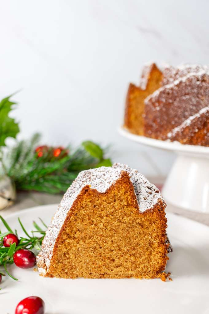 Gingerbread Bundt Cake - slice on a plate