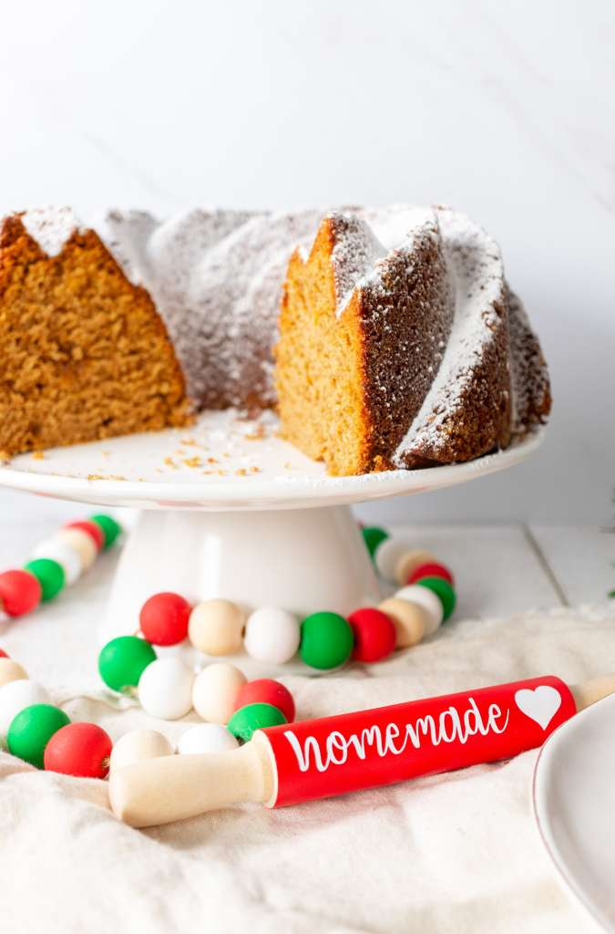 Gingerbread Bundt Cake - with decorative mini rolling pin