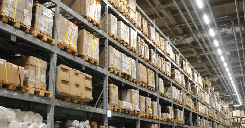 Image of LED lighting in a warehouse