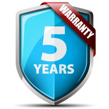 Image of a five year warranty logo