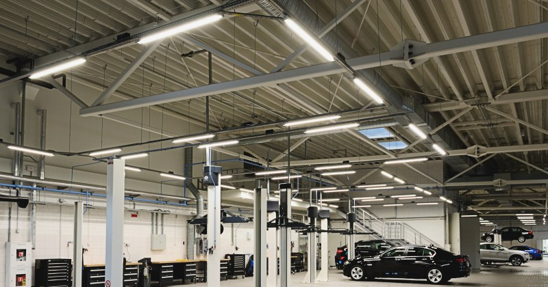 LED garage lighting in a modern garage