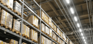 An image of LED lighting in a warehouse