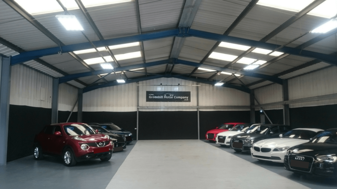 Owled's garage lighting case study of Greenhill Motors