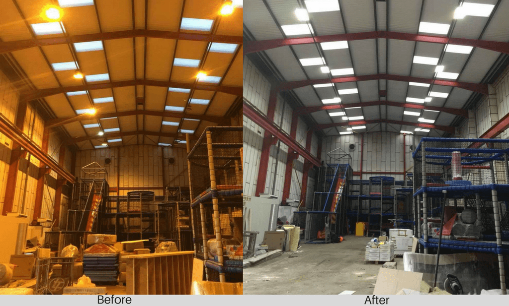 Medieval Mayhem before and after LED warehouse lighting