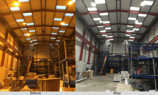 Medieval Mayhem before and after LED lighting